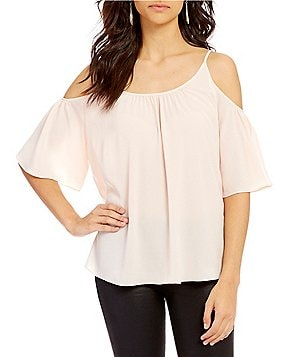 French Connection Polly Plains Cold-Shoulder Short Sleeve Top