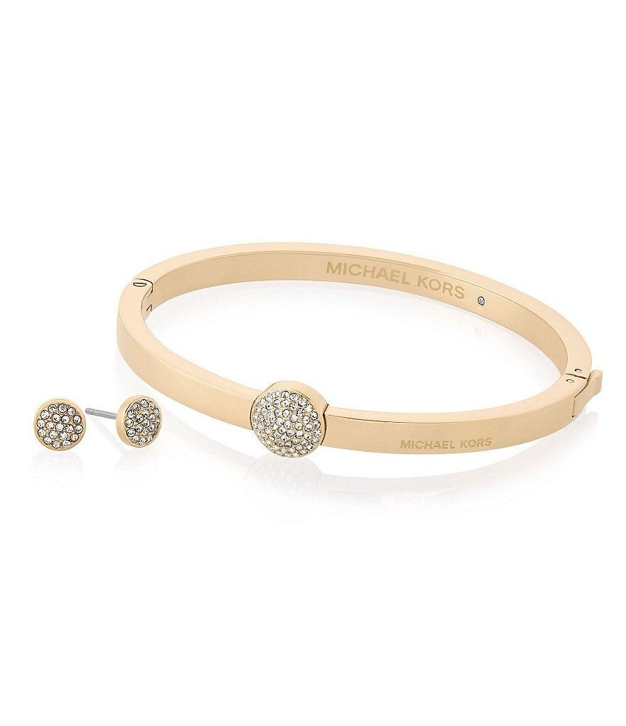 Michael Kors Brilliance Pavé Hinged Bangle Bracelet & Stud Earring Gift Set