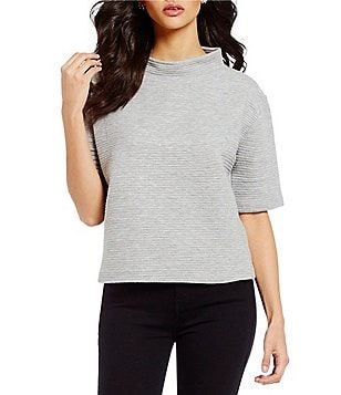 French Connection Marin Ottoman Mock Neck Elbow-Sleeve Top