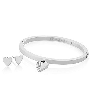Michael Kors Brilliance Heart Pavé Pendant Bangle Bracelet & Stud Earring Gift Set