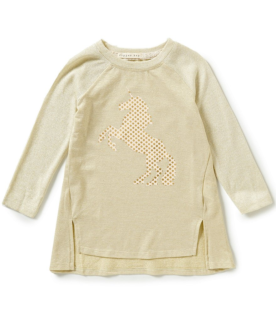 Copper Key Little Girls 4-6X Foiled Screen-Print Top