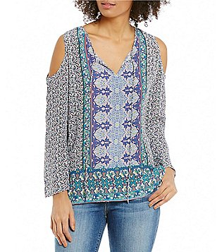 Tolani Claire V-Neck Cold-Shoulder Silk Tunic