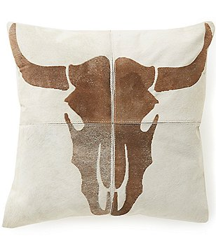 Mina Victory Dallas Laser-Cut Steer Skull Haircalf Throw Pillow