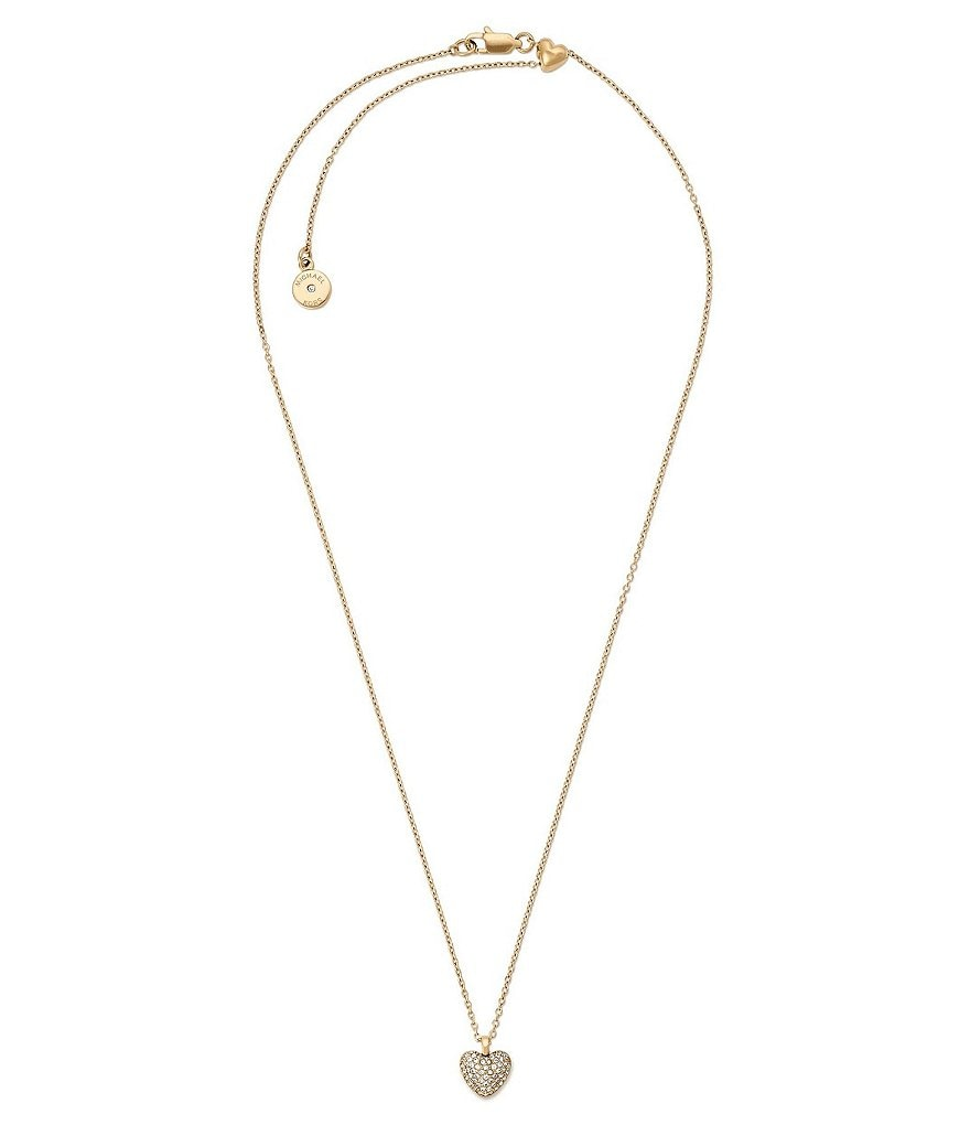 Michael Kors Carved Heart Pavé Pendant Necklace