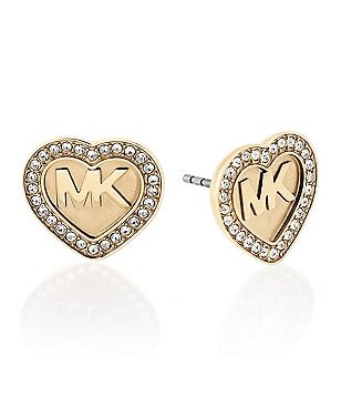 Michael Kors Brilliance Pavé Heart Logo Stud Earrings