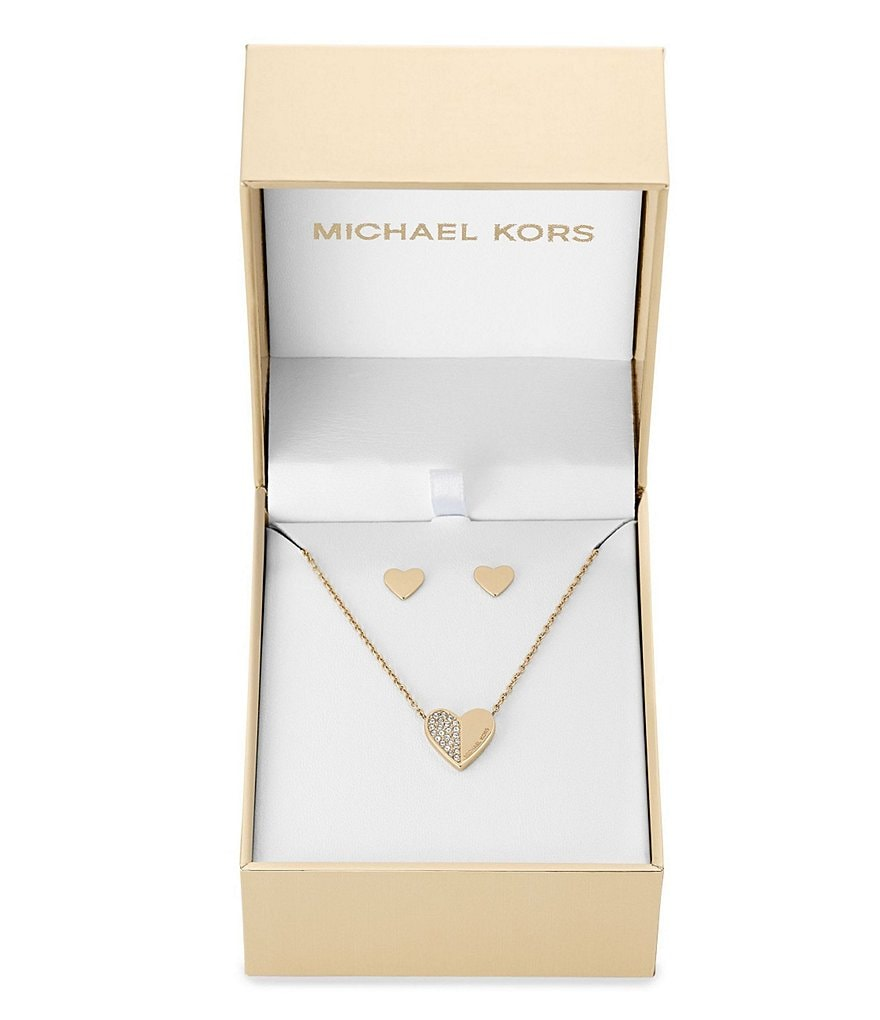 Michael Kors Brilliance Holiday Pavé Heart Pendant Necklace & Stud Earring Gift Set