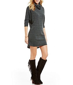 GB Cowlneck Sheath Sweater Dress