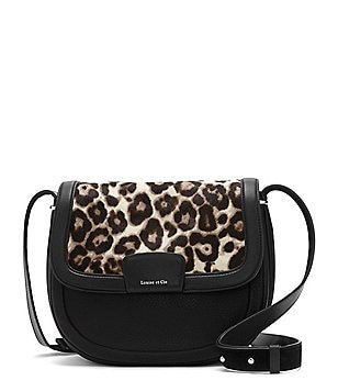 Louise et Cie Ivie Leopard-Print Haircalf Saddle Bag