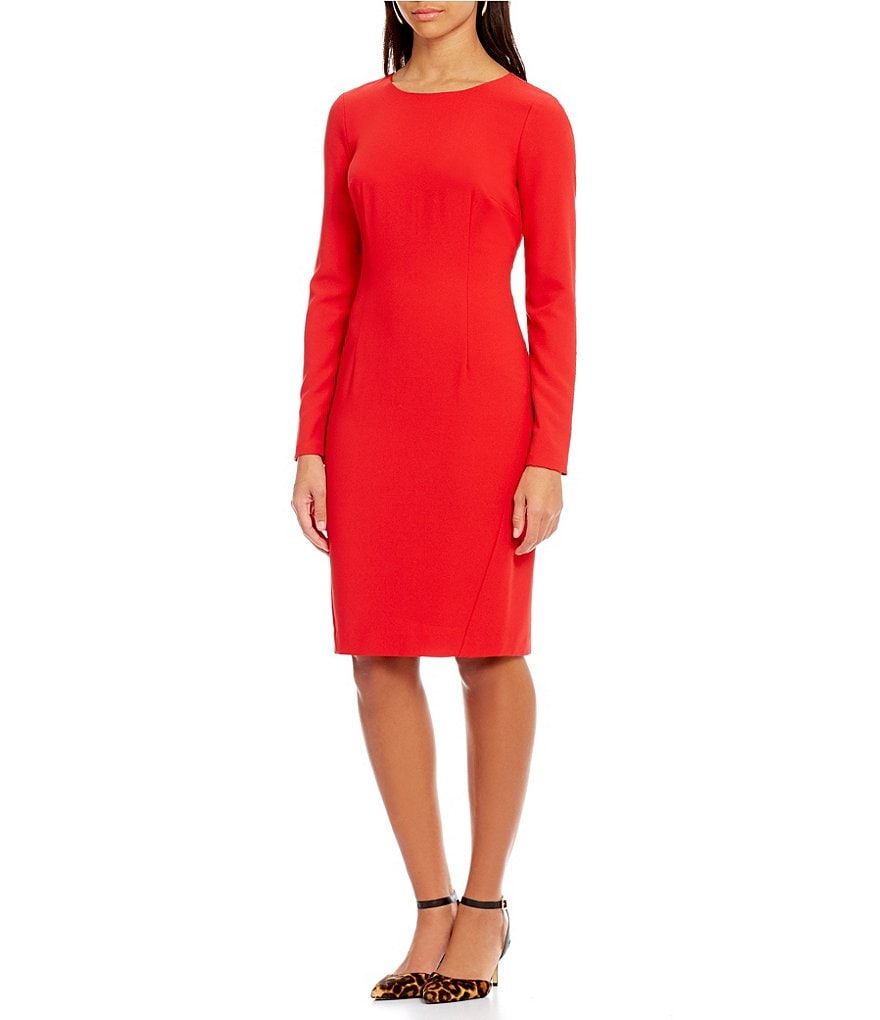Cremieux Bari Long Sleeve Crepe Sheath Dress