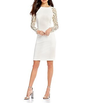 Cremieux Lily Lace Long Sleeve Crepe Sheath Dress