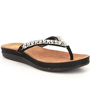 Volatile Graceful Textile Rhinestone Detail Slip On Thong Flat Sandals