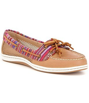 Sperry Firefish Leather & Textile Slip On Fixed Lace Boat Shoes