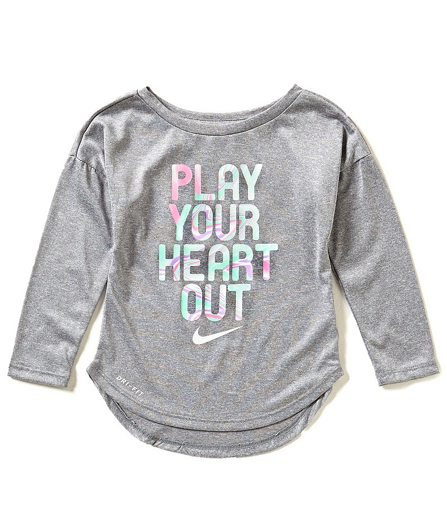 Nike Little Girls 2T-6X Play Your Heart Out Dri-FIT Long-Sleeve Tee