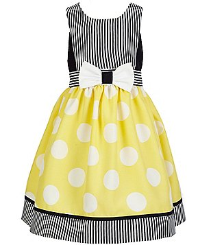 Bonnie Jean Little Girls 2T-6X Striped-Dotted Bow-Front A-line Dress