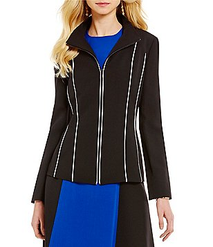 Kasper Stretch Crepe Zip-Front Allover Piping Jacket