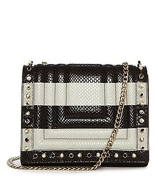 Luana Italy Clio Striped Studded-Flap Cross-Body Bag