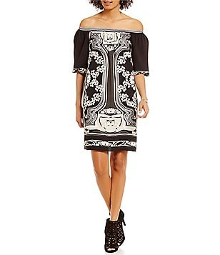 M.S.S.P. Printed Off-the-Shoulder Crepe Shift Dress