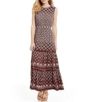 M.S.S.P. Crepe A-Line Printed Tiered Maxi Dress