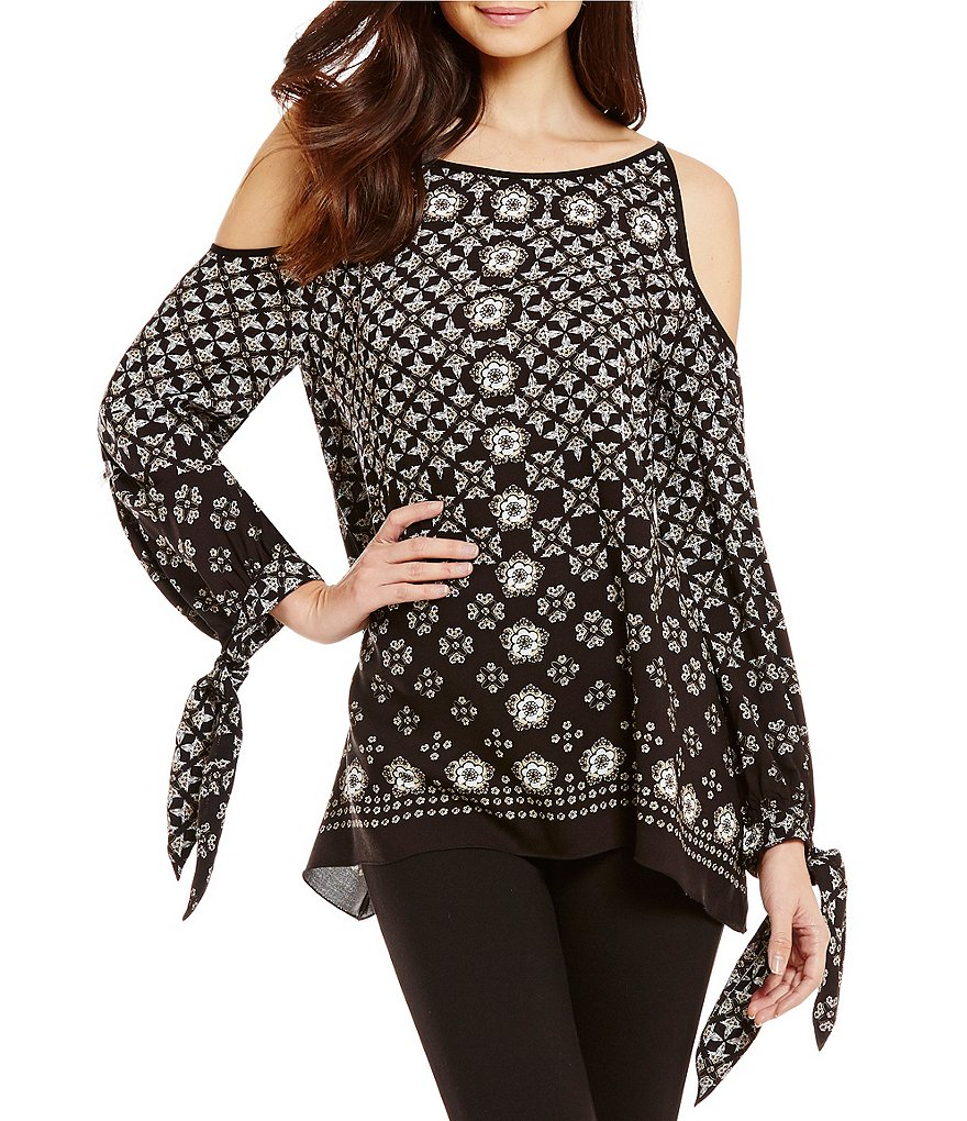M.S.S.P. Printed Cold-Shoulder Long Sleeve Blouse