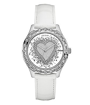 Guess Glittery Heart Leather-Strap Watch with See-Through Dial