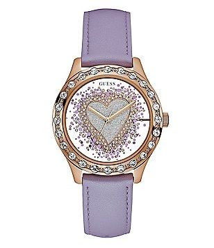 Guess Glittery Heart Leather-Strap Watch