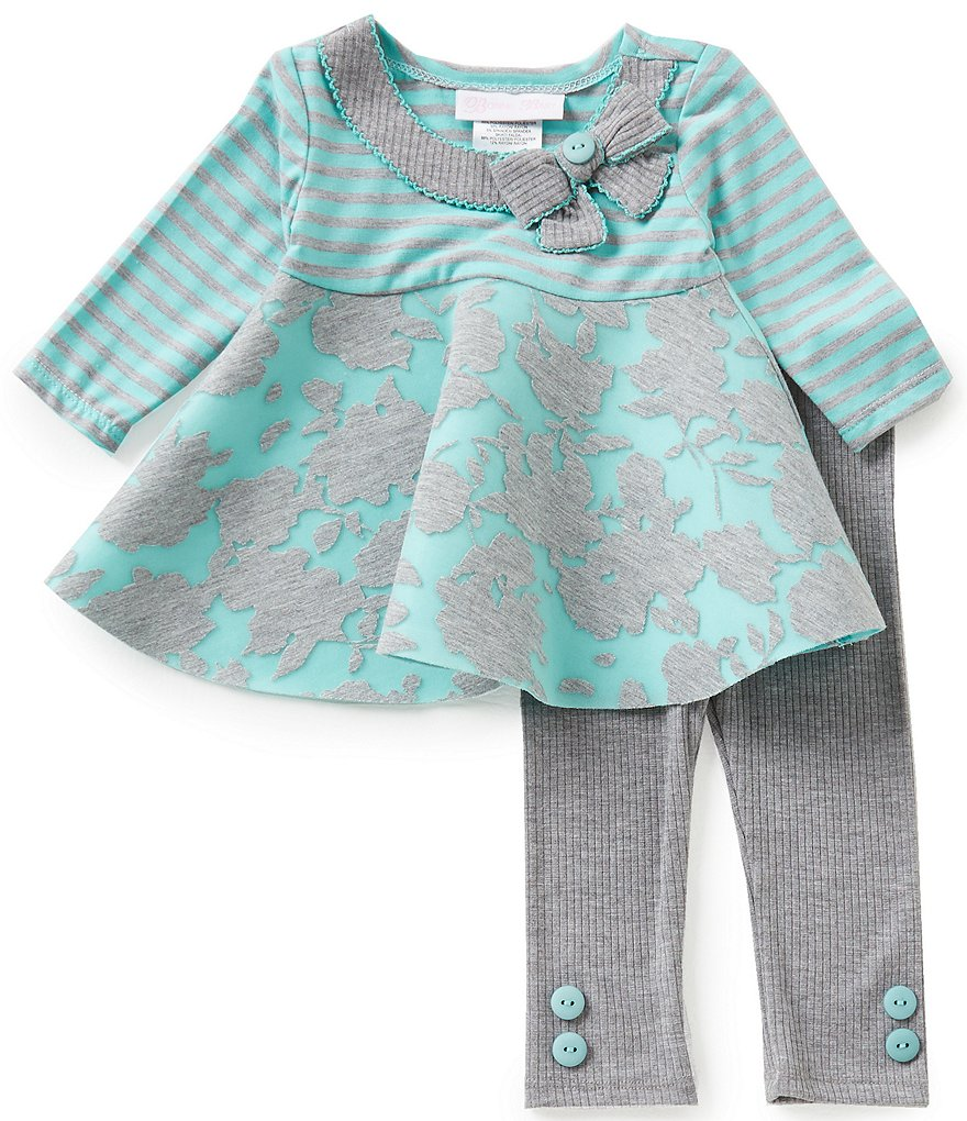 Bonnie Baby Baby Girls Newborn-9 Months Mixed-Media Dress and Solid Leggings Set