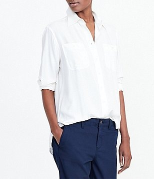 Lauren Ralph Lauren Point Collar Button-Up Utility Shirt
