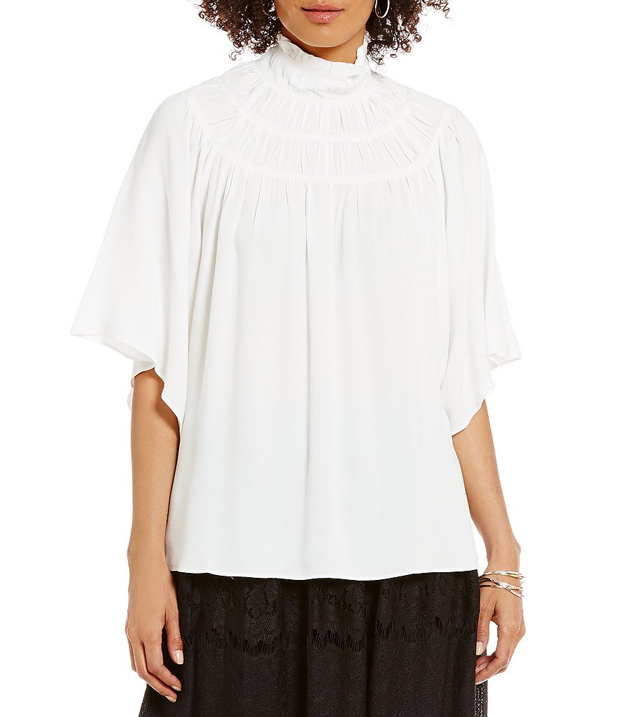M.S.S.P. Mock Neck Short Sleeve Button Back Solid Crepe Blouse