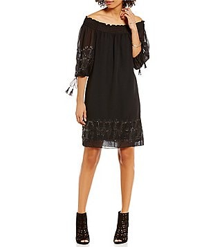 M.S.S.P. Off-The-Shoulder 3/4 Sleeve Sequin Shift Dress