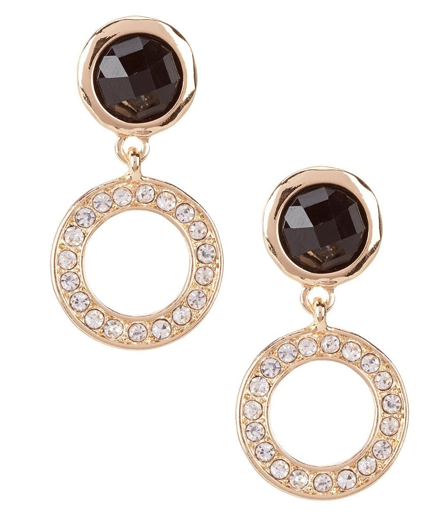 dillard 180 s tailored jet drop hoop earrings dillards