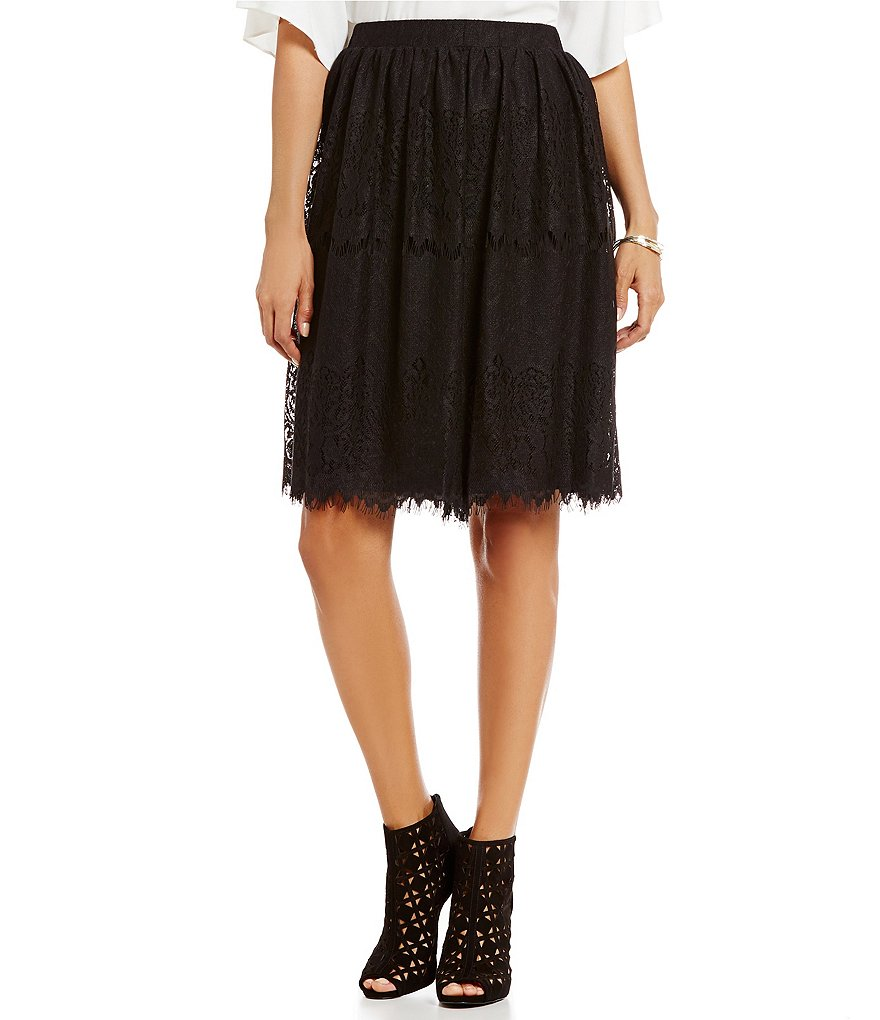 M.S.S.P. Pull-On Solid Lace A-Line Skirt