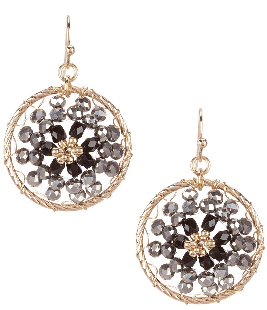 dillard 180 s tailored beaded hoop earrings dillards