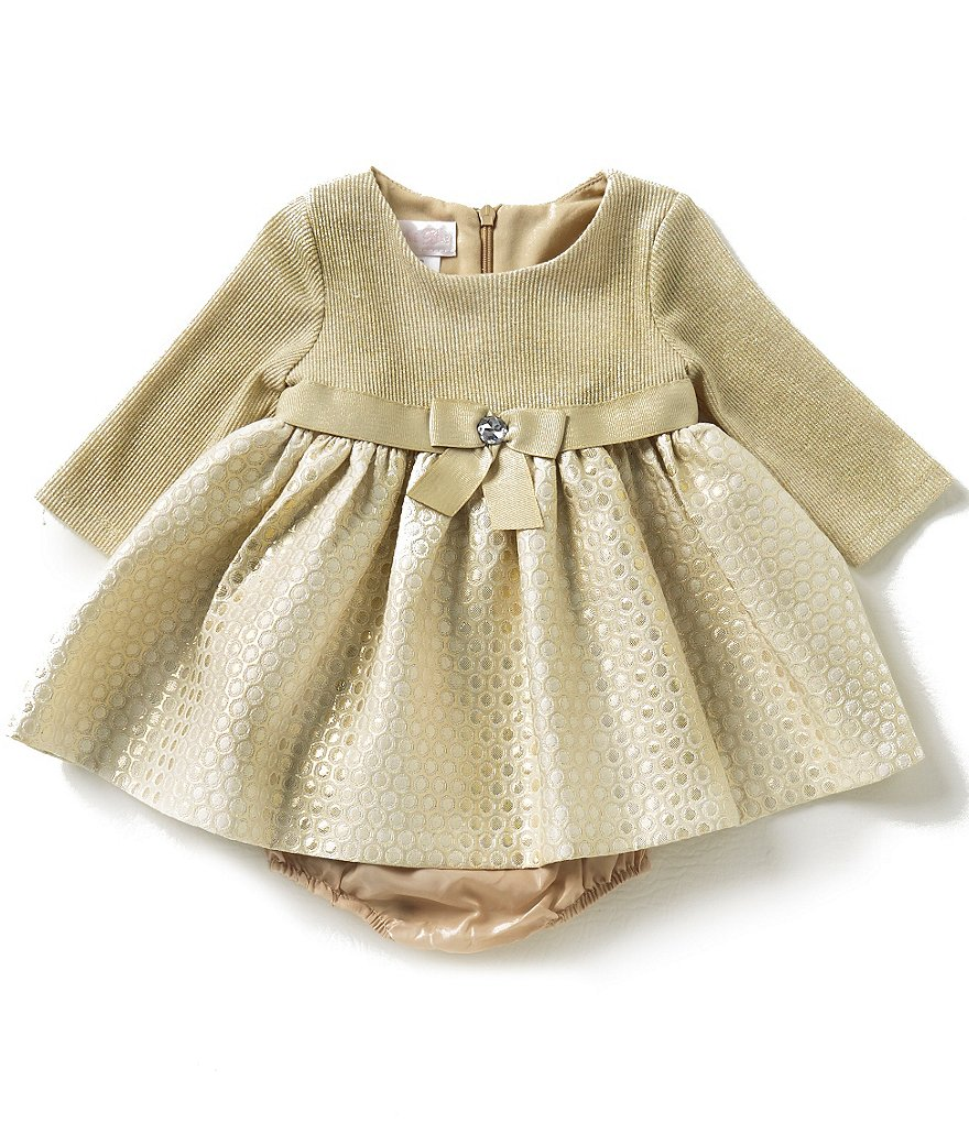 Bonnie Baby Baby Girls 3-24 Months Sweater-Knit/Dotted-Brocade Dress