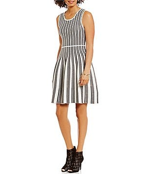 M.S.S.P. Crew Neck Sleeveless Fit-And-Flare Sweater Dress