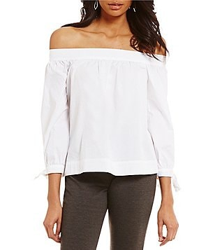 M.S.S.P. Off-the-Shoulder Tie-Sleeve Blouse