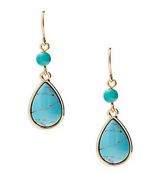 Lauren Ralph Lauren Turquoise Stone Double-Drop Earrings