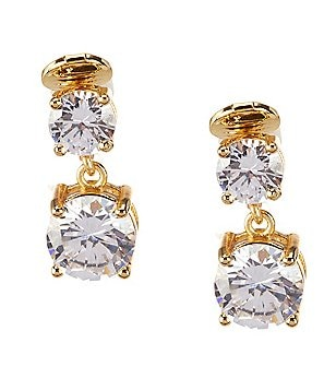 Anne Klein Sparkling Ears Cubic Zirconia Double Drop Clip-On Earrings