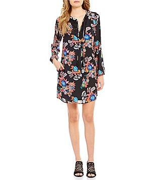 Gibson & Latimer Long Sleeve Floral Crochet Shift Dress
