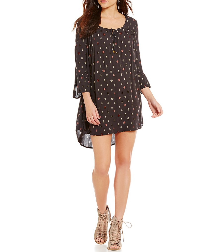 Billabong Take Me Away Bell-Sleeve High-Low Printed Shift Dress