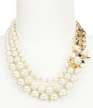 Anne Klein Pearl Blossom Statement Necklace