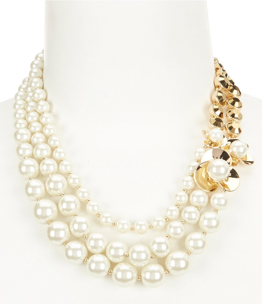 Anne Klein Faux-Pearl Blossom Statement Necklace