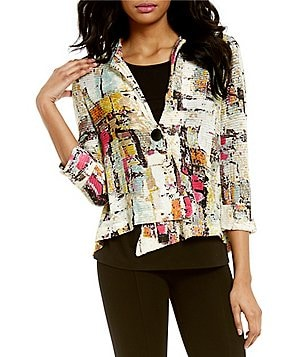 Paris Hues Multi Print 3/4 Sleeve Mesh Jacket