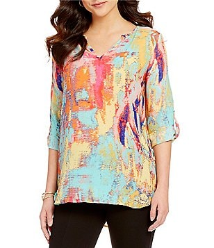 Gibson & Latimer Watercolor Print V-Neck 3/4 Roll-Tab Sleeve Tunic