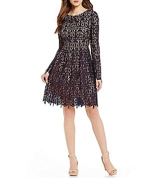 Cremieux Mia Crew Neck Long Sleeve Printed Lace A-Line Dress