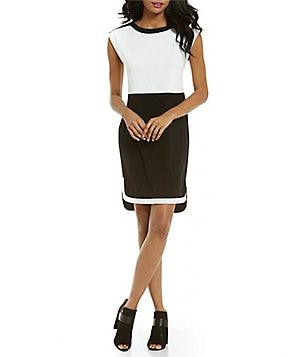 Cremieux Charlie Colorblock Sheath Cap Sleeve Dress