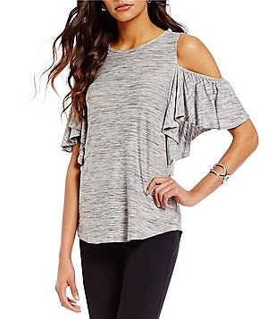 Gibson & Latimer Round Neck Cold-Shoulder Ruffle Sleeve Heathered Knit Tunic