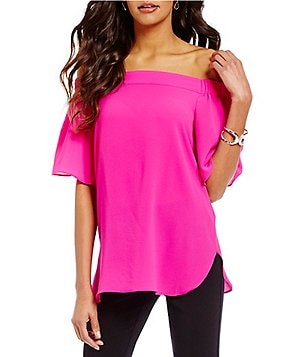 Gibson & Latimer Off-the-Shoulder Short Flutter Sleeve Blouse