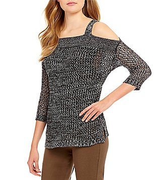 Gibson & Latimer Cold-Shoulder Knit Sweater