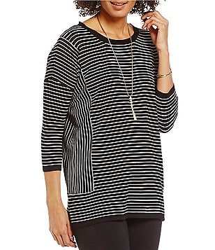 Gibson & Latimer Tie-Back Striped Long Sleeve Sweater