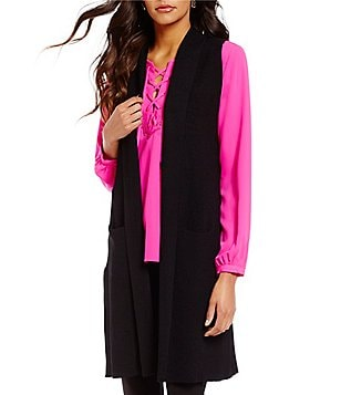 Gibson & Latimer Open Neck Sleeveless Knit Open Front Cardigan